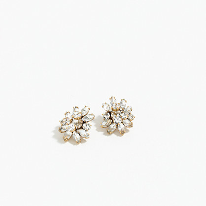 Crystal Burst Earrings - predominant colour: gold; occasions: evening, occasion; style: stud; length: short; size: large/oversized; material: chain/metal; fastening: pierced; finish: metallic; embellishment: crystals/glass; secondary colour: clear; season: a/w 2015; wardrobe: event