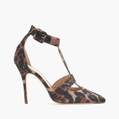 Roxie Leopard Satin T Strap Pumps - predominant colour: chocolate brown; secondary colour: black; occasions: evening; material: satin; embellishment: buckles; ankle detail: ankle strap; heel: stiletto; toe: pointed toe; style: t-bar; finish: plain; pattern: animal print; heel height: very high; multicoloured: multicoloured; season: a/w 2015; wardrobe: event