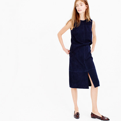 Collection A Line Midi Skirt In Suede - length: below the knee; pattern: plain; fit: loose/voluminous; waist: high rise; predominant colour: navy; occasions: casual, creative work; style: a-line; pattern type: fabric; texture group: suede; season: a/w 2015; wardrobe: highlight