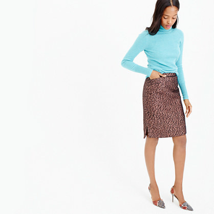 Collection Rose Gold Tweed Mini Skirt - style: pencil; fit: tailored/fitted; waist: high rise; predominant colour: bronze; occasions: casual, work, creative work; length: just above the knee; fibres: cotton - stretch; waist detail: narrow waistband; pattern type: fabric; pattern: florals; texture group: other - light to midweight; pattern size: standard (bottom); season: a/w 2015