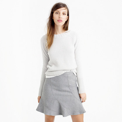Flutter Mini Skirt In Double Serge Wool - length: mid thigh; pattern: plain; fit: loose/voluminous; waist: high rise; predominant colour: light grey; occasions: work, creative work; style: a-line; fibres: wool - mix; pattern type: fabric; texture group: woven light midweight; season: a/w 2015