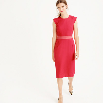 Petite Cap Sleeve Dress In Italian Wool Crepe - style: shift; length: below the knee; sleeve style: capped; fit: tailored/fitted; pattern: plain; predominant colour: coral; occasions: evening; fibres: wool - 100%; neckline: crew; sleeve length: short sleeve; texture group: crepes; pattern type: fabric; season: a/w 2015