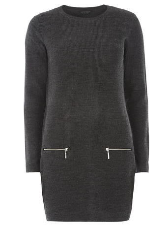 Womens Charcoal Zip Ribbed Tunic Grey - pattern: plain; length: below the bottom; style: tunic; predominant colour: mid grey; occasions: casual, creative work; fibres: acrylic - 100%; fit: body skimming; neckline: crew; sleeve length: long sleeve; sleeve style: standard; pattern type: knitted - big stitch; texture group: jersey - stretchy/drapey; season: a/w 2015; wardrobe: basic