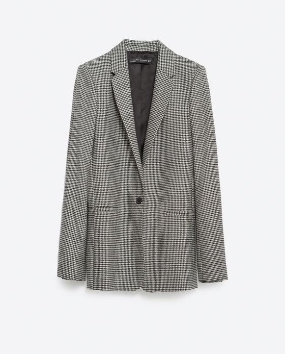 Houndstooth Blazer - style: single breasted blazer; collar: standard lapel/rever collar; secondary colour: mid grey; predominant colour: black; occasions: casual, work, creative work; length: standard; fit: tailored/fitted; fibres: polyester/polyamide - mix; pattern: dogtooth; sleeve length: long sleeve; sleeve style: standard; collar break: low/open; pattern type: fabric; pattern size: standard; texture group: woven light midweight; multicoloured: multicoloured; season: a/w 2015