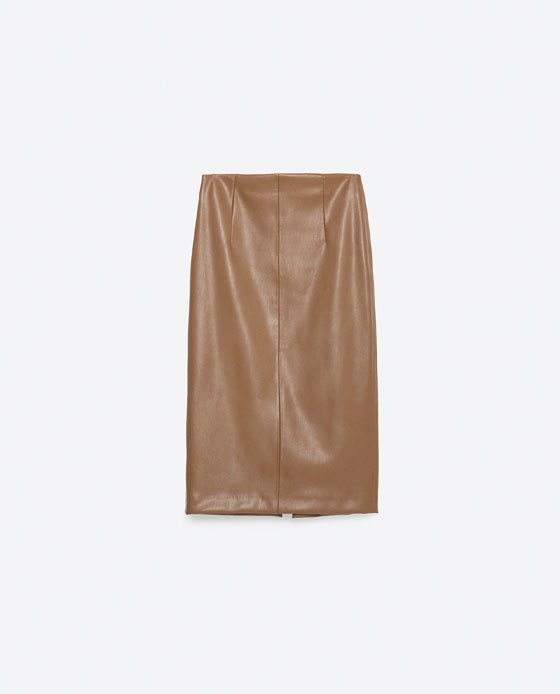 Tube Skirt - pattern: plain; style: pencil; fit: body skimming; waist detail: fitted waist; waist: mid/regular rise; predominant colour: tan; occasions: casual, occasion, creative work; length: on the knee; fibres: polyester/polyamide - stretch; texture group: leather; season: a/w 2015; wardrobe: highlight