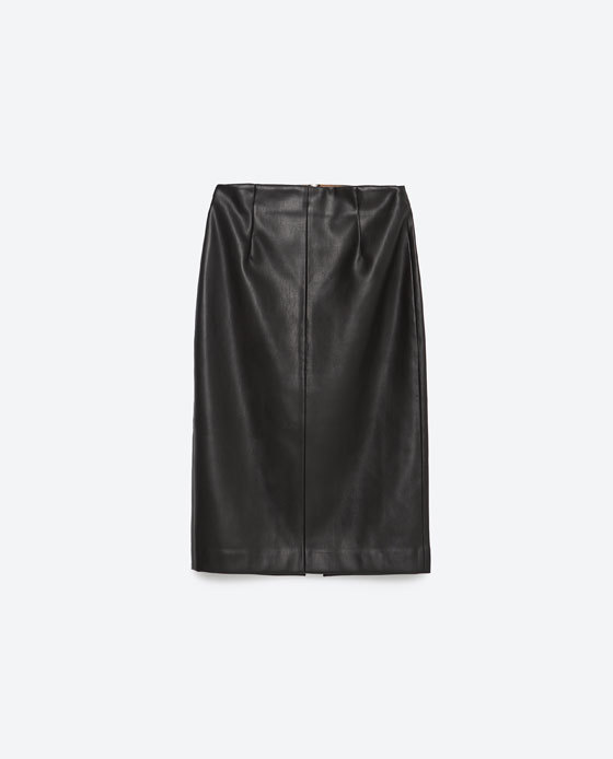 Tube Skirt - pattern: plain; style: pencil; fit: body skimming; waist detail: fitted waist; waist: mid/regular rise; predominant colour: black; occasions: evening, creative work; length: on the knee; fibres: polyester/polyamide - stretch; texture group: leather; pattern type: fabric; season: a/w 2015; wardrobe: highlight