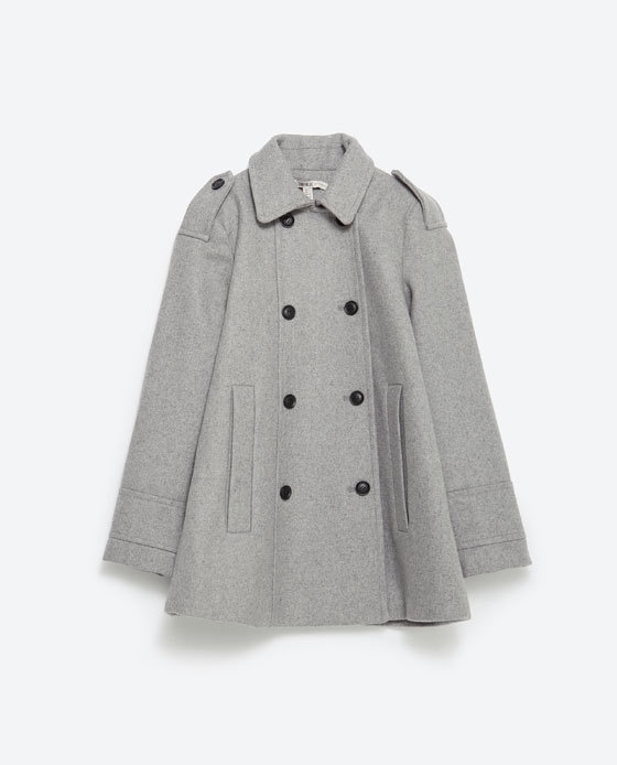 Cape Coat - pattern: plain; length: below the bottom; style: cape; predominant colour: light grey; fit: straight cut (boxy); collar: shirt collar/peter pan/zip with opening; sleeve length: long sleeve; collar break: high; texture group: woven bulky/heavy; sleeve style: cape/poncho sleeve; season: a/w 2015; wardrobe: investment