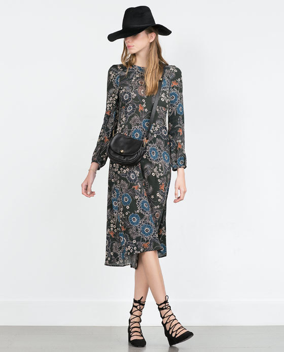 Printed Dress - style: a-line; length: below the knee; predominant colour: pale blue; fit: body skimming; neckline: crew; sleeve length: long sleeve; sleeve style: standard; pattern: florals; texture group: other - light to midweight; season: a/w 2015; wardrobe: highlight