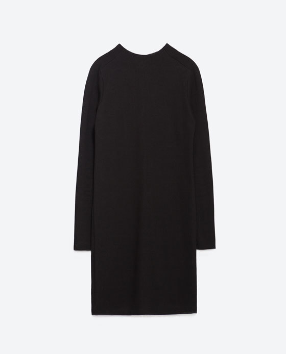 Knit Dress - style: jumper dress; length: mini; fit: loose; pattern: plain; neckline: high neck; predominant colour: black; sleeve length: long sleeve; sleeve style: standard; texture group: knits/crochet; pattern type: knitted - fine stitch; season: a/w 2015; wardrobe: investment