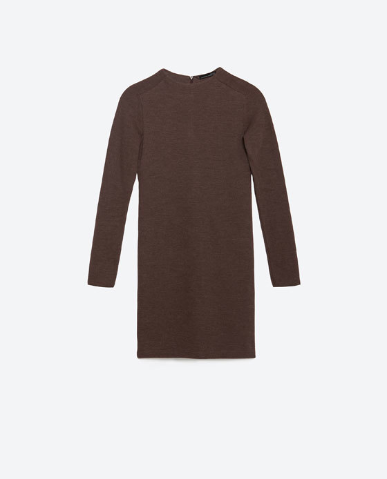 Knit Dress - style: shift; length: mid thigh; pattern: plain; neckline: high neck; predominant colour: taupe; occasions: casual, creative work; fit: body skimming; fibres: cotton - mix; sleeve length: long sleeve; sleeve style: standard; texture group: knits/crochet; pattern type: knitted - fine stitch; season: a/w 2015; wardrobe: basic