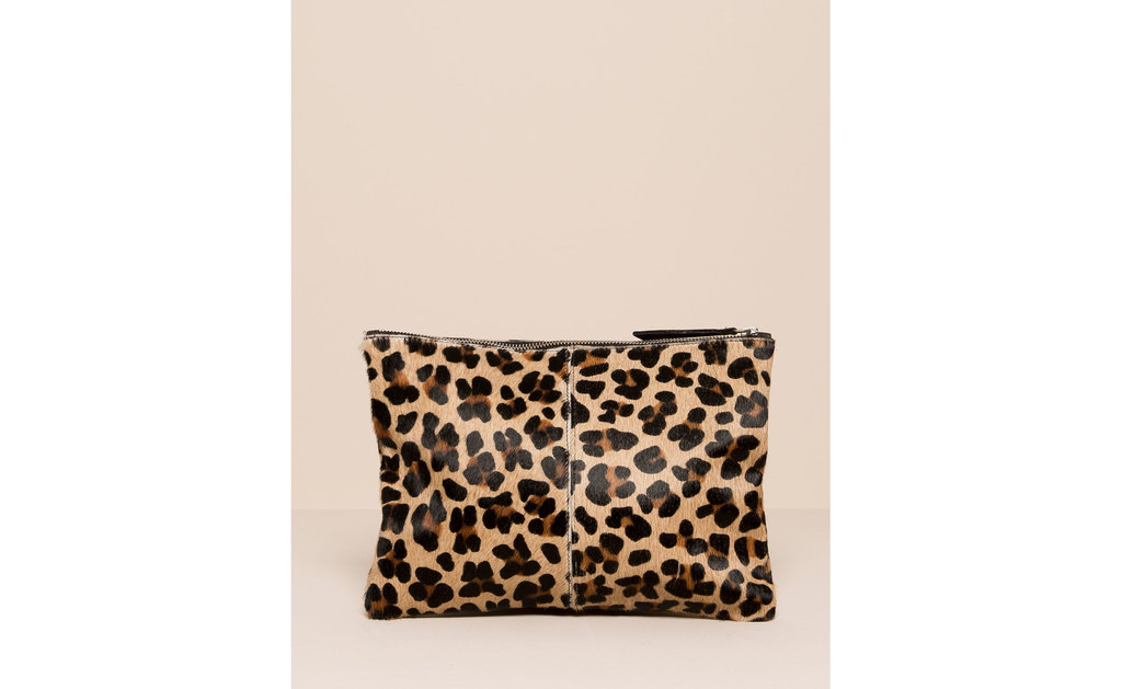 Leopard Fur Clutch - predominant colour: camel; secondary colour: black; occasions: evening, occasion; length: hand carry; size: small; pattern: animal print; season: a/w 2015