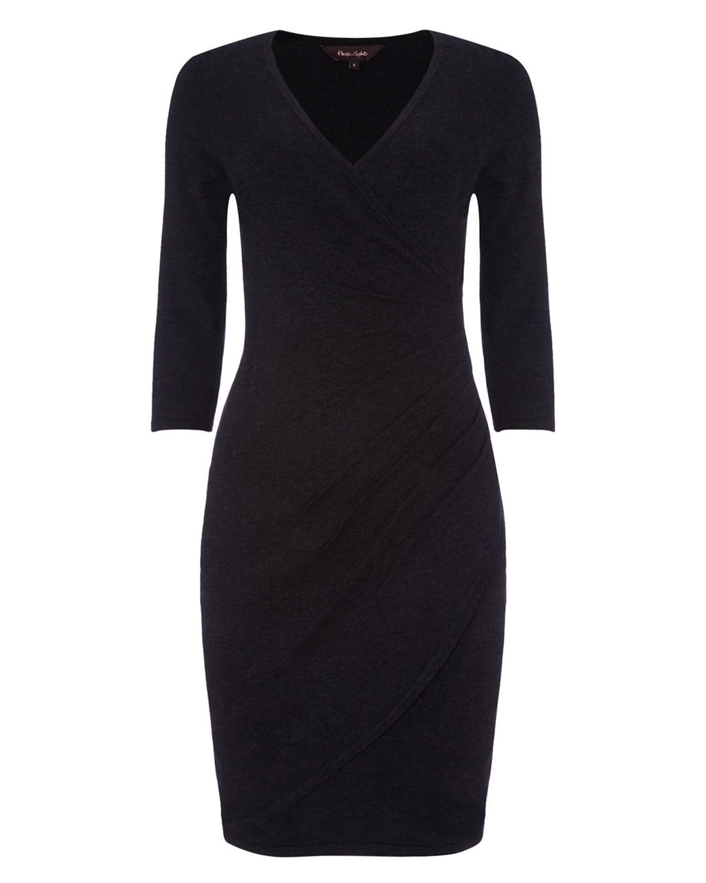 Maisie Wrap Dress - style: faux wrap/wrap; length: mid thigh; neckline: v-neck; pattern: plain; predominant colour: black; occasions: evening; fit: body skimming; fibres: viscose/rayon - stretch; sleeve length: 3/4 length; sleeve style: standard; pattern type: fabric; texture group: jersey - stretchy/drapey; season: a/w 2015; wardrobe: event