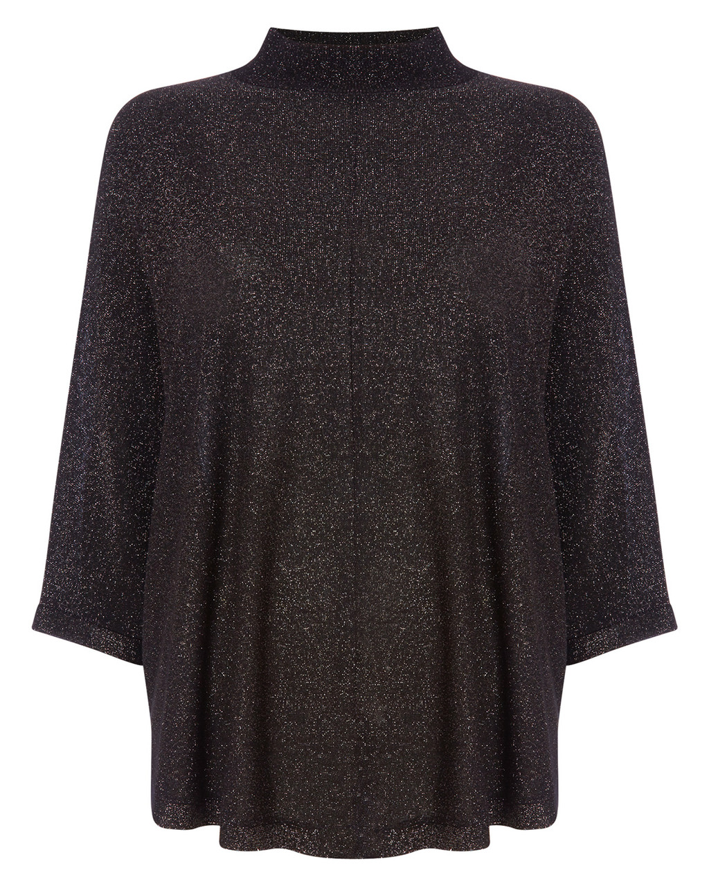 Shimmer Melany Poncho - pattern: plain; length: below the bottom; fit: loose; style: poncho/blanket; collar: high neck; predominant colour: black; occasions: casual; fibres: polyester/polyamide - 100%; sleeve length: 3/4 length; sleeve style: standard; texture group: knits/crochet; collar break: high; pattern type: knitted - fine stitch; season: a/w 2015; wardrobe: highlight