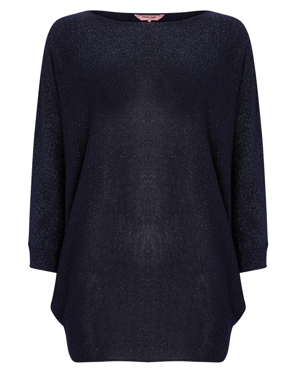 Shimmer Becca Batwing Knit - neckline: slash/boat neckline; pattern: plain; length: below the bottom; style: standard; predominant colour: navy; occasions: casual, creative work; fit: loose; sleeve length: long sleeve; sleeve style: standard; texture group: knits/crochet; pattern type: knitted - fine stitch; fibres: viscose/rayon - mix; season: a/w 2015; wardrobe: basic