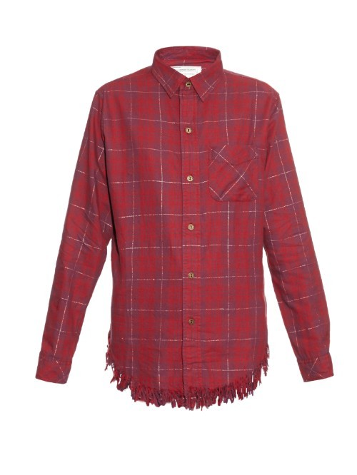 The Prep School Frayed Shirt - neckline: shirt collar/peter pan/zip with opening; pattern: checked/gingham; style: shirt; predominant colour: hot pink; occasions: casual, creative work; length: standard; fit: body skimming; sleeve length: long sleeve; sleeve style: standard; pattern type: fabric; pattern size: standard; texture group: other - light to midweight; season: a/w 2015; trends: plaid and simple; wardrobe: highlight