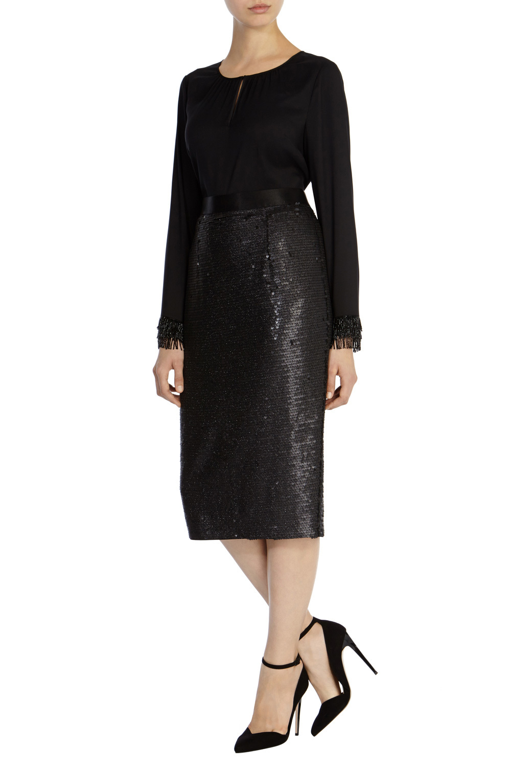 Ashlynne Sequin Skirt - length: below the knee; pattern: plain; style: pencil; fit: tailored/fitted; waist: high rise; predominant colour: black; occasions: occasion; texture group: woven light midweight; embellishment: sequins; season: a/w 2015