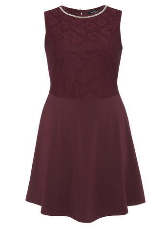 Womens **Dp Curve Wine Embellished Lace Fit And Flare Dress Wine - pattern: plain; sleeve style: sleeveless; bust detail: added detail/embellishment at bust; predominant colour: burgundy; occasions: evening; length: just above the knee; fit: fitted at waist & bust; style: fit & flare; fibres: cotton - stretch; neckline: crew; sleeve length: sleeveless; pattern type: fabric; texture group: jersey - stretchy/drapey; embellishment: lace; season: a/w 2015
