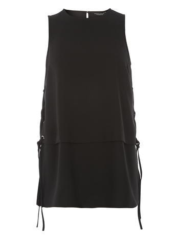 Womens Black Eyelet Side Top Black - pattern: plain; sleeve style: sleeveless; waist detail: belted waist/tie at waist/drawstring; predominant colour: black; occasions: casual; length: standard; style: top; fibres: leather - 100%; fit: straight cut; neckline: crew; back detail: keyhole/peephole detail at back; sleeve length: sleeveless; pattern type: fabric; texture group: other - light to midweight; season: a/w 2015; wardrobe: basic