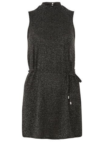 Womens Silver Shimmer High Neck Top Black - pattern: plain; neckline: high neck; length: below the bottom; style: tunic; waist detail: belted waist/tie at waist/drawstring; predominant colour: black; occasions: casual, evening; fibres: polyester/polyamide - mix; fit: body skimming; sleeve length: sleeveless; sleeve style: standard; pattern type: fabric; texture group: jersey - stretchy/drapey; season: a/w 2015