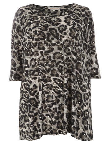 Womens **Billie & Blossom Curve Animal Print Sequin Tunic Animal - neckline: round neck; length: below the bottom; style: tunic; predominant colour: mid grey; secondary colour: black; occasions: casual; fit: straight cut; sleeve length: 3/4 length; sleeve style: standard; pattern type: fabric; pattern size: standard; pattern: animal print; texture group: jersey - stretchy/drapey; embellishment: sequins; fibres: cashmere - stretch; season: a/w 2015; wardrobe: highlight