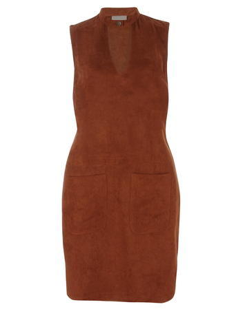 Womens **Vero Moda Tan V Neck Suedette Dress Brown - style: shift; neckline: low v-neck; pattern: plain; sleeve style: sleeveless; hip detail: front pockets at hip; predominant colour: chocolate brown; occasions: casual, creative work; length: just above the knee; fit: body skimming; fibres: polyester/polyamide - 100%; sleeve length: sleeveless; pattern type: fabric; texture group: suede; season: a/w 2015; wardrobe: highlight