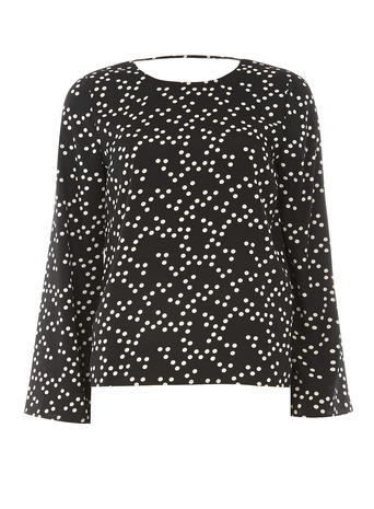 Womens **Vero Moda Black Dotty Blouse Black - neckline: round neck; style: blouse; pattern: polka dot; secondary colour: white; predominant colour: black; occasions: casual, creative work; length: standard; fibres: polyester/polyamide - 100%; fit: body skimming; sleeve length: long sleeve; sleeve style: standard; texture group: sheer fabrics/chiffon/organza etc.; pattern type: fabric; pattern size: big & busy (top); season: a/w 2015; wardrobe: highlight