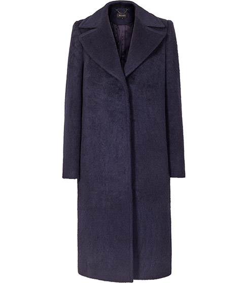 Arlenis Long Length Coat - pattern: plain; collar: wide lapels; style: single breasted; length: on the knee; predominant colour: navy; sleeve style: standard; collar break: medium; pattern type: fabric; season: a/w 2015; wardrobe: highlight