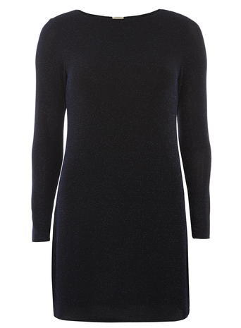 Womens **Billie & Blossom Navy Metalic Gem Trim Dress Blue - style: jumper dress; length: mini; pattern: plain; predominant colour: navy; occasions: evening; fit: body skimming; fibres: nylon - mix; neckline: crew; sleeve length: long sleeve; sleeve style: standard; texture group: knits/crochet; pattern type: knitted - fine stitch; embellishment: glitter; season: a/w 2015; wardrobe: event