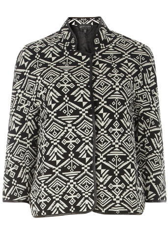 Womens **Mela Black And White Aztec Jacket Black - style: single breasted blazer; collar: round collar/collarless; secondary colour: white; predominant colour: black; occasions: casual, creative work; length: standard; fit: straight cut (boxy); fibres: polyester/polyamide - 100%; sleeve length: 3/4 length; sleeve style: standard; collar break: high; pattern type: fabric; pattern: patterned/print; texture group: woven light midweight; pattern size: big & busy (top); season: a/w 2015