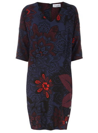 Womens **Closet Multi Floral Dress Multi Colour - style: shirt; neckline: v-neck; predominant colour: navy; occasions: casual, creative work; length: just above the knee; fit: body skimming; fibres: polyester/polyamide - stretch; sleeve length: half sleeve; sleeve style: standard; pattern type: fabric; pattern size: big & busy; pattern: florals; texture group: jersey - stretchy/drapey; multicoloured: multicoloured; season: a/w 2015; wardrobe: highlight