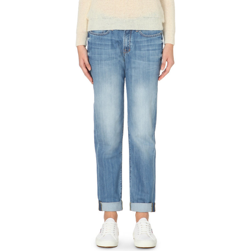 Washed Boyfriend Low Rise Jeans, Women's, Pale Denim - style: straight leg; pattern: plain; waist: low rise; pocket detail: traditional 5 pocket; predominant colour: denim; occasions: casual; length: ankle length; fibres: cotton - stretch; jeans detail: whiskering; jeans & bottoms detail: turn ups; texture group: denim; pattern type: fabric; season: a/w 2015; wardrobe: basic