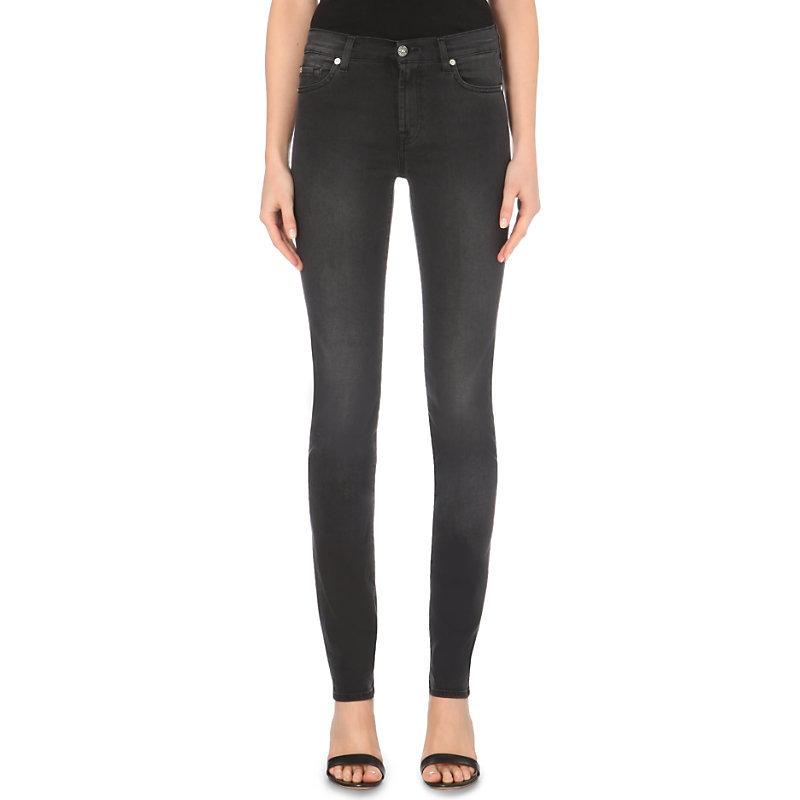 Illusion Skinny High Rise Jeans, Women's, Luxe Rich Black - style: skinny leg; length: standard; pattern: plain; pocket detail: traditional 5 pocket; waist: mid/regular rise; predominant colour: black; occasions: casual, evening; fibres: cotton - stretch; jeans detail: shading down centre of thigh; texture group: denim; pattern type: fabric; season: a/w 2015; wardrobe: basic