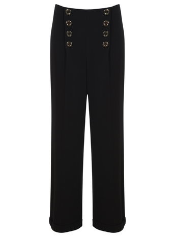 Womens High Waist Button Trouser, Black - length: standard; pattern: plain; waist: mid/regular rise; predominant colour: black; fibres: polyester/polyamide - 100%; texture group: crepes; fit: wide leg; pattern type: fabric; style: standard; occasions: creative work; season: a/w 2015; wardrobe: basic
