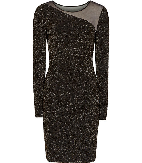 Verona Metallic Bodycon Dress - neckline: round neck; fit: tight; style: bodycon; secondary colour: gold; predominant colour: black; occasions: evening; length: just above the knee; fibres: polyester/polyamide - stretch; sleeve length: long sleeve; sleeve style: standard; texture group: jersey - clingy; pattern type: fabric; pattern: patterned/print; embellishment: glitter; shoulder detail: sheer at shoulder; season: a/w 2015; wardrobe: event; embellishment location: all over