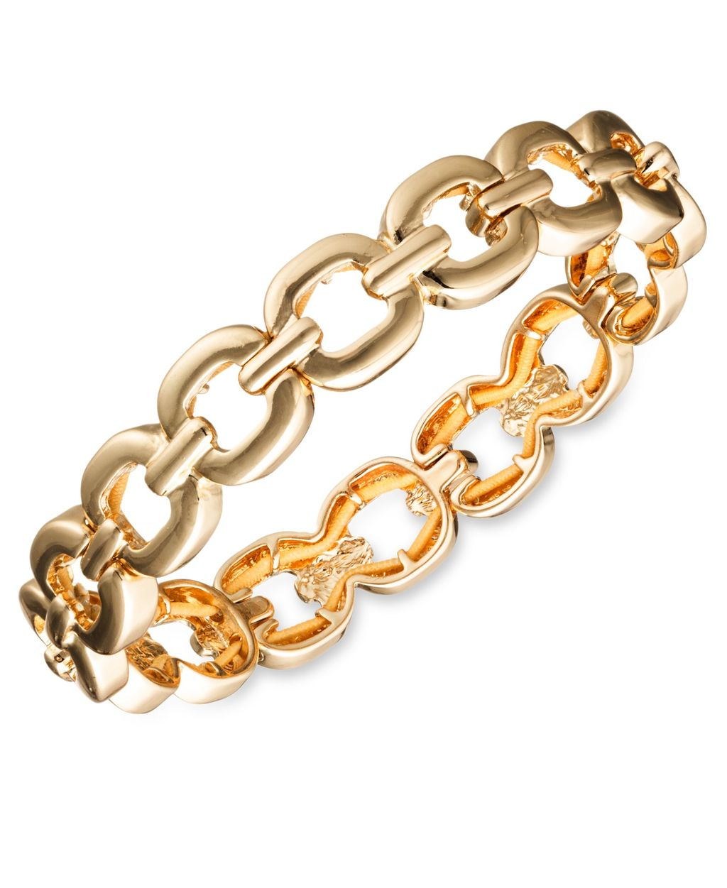 Glitzy Links Crystal Stretch Bracelet, Metallic - predominant colour: gold; occasions: evening; style: bangle/standard; size: standard; material: chain/metal; finish: metallic; season: a/w 2015; wardrobe: event