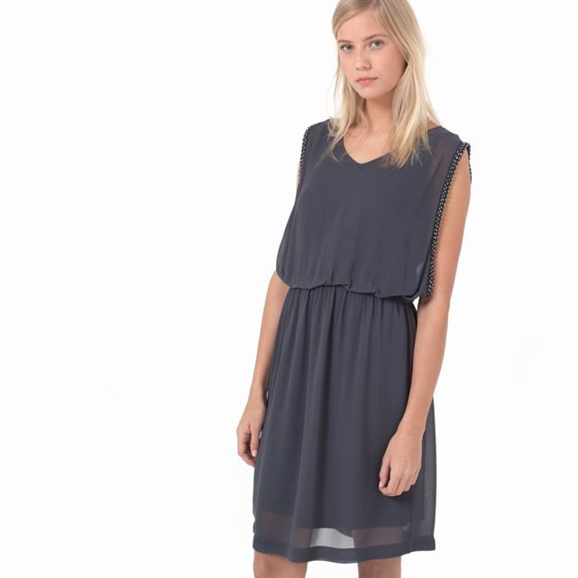Sleeveless Voile Dress With Beaded Armholes - style: shift; neckline: v-neck; fit: fitted at waist; pattern: plain; sleeve style: sleeveless; waist detail: elasticated waist; predominant colour: charcoal; occasions: evening; length: just above the knee; fibres: polyester/polyamide - 100%; sleeve length: sleeveless; texture group: sheer fabrics/chiffon/organza etc.; pattern type: fabric; season: a/w 2015; wardrobe: event
