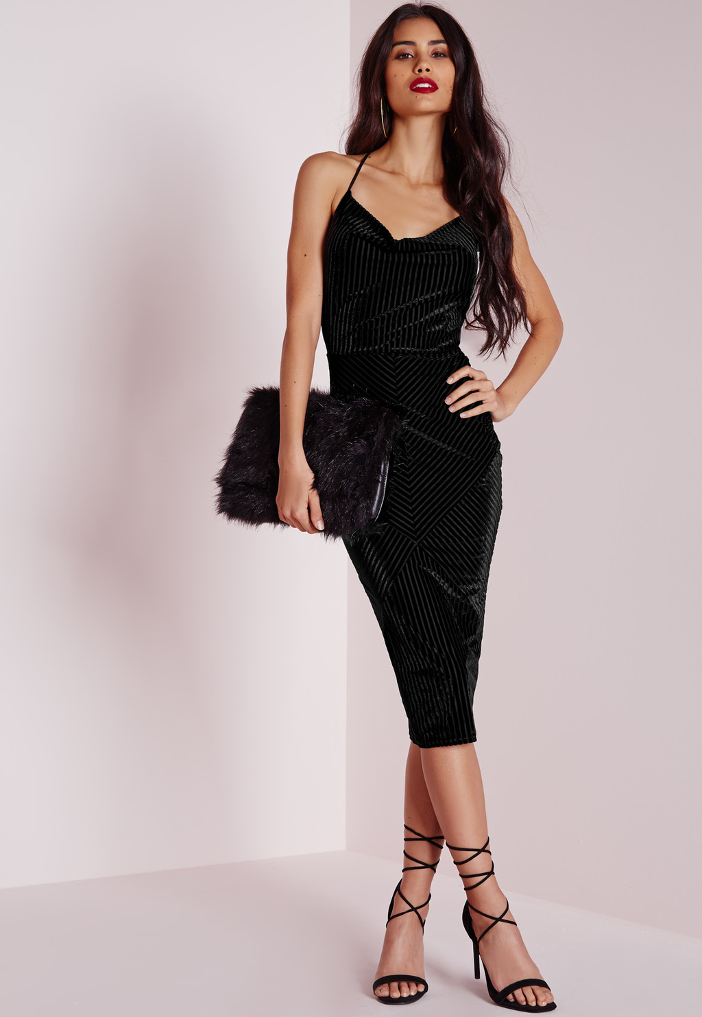 Ribbed Velvet Strappy Bodycon Dress Black, Black - length: below the knee; neckline: cowl/draped neck; sleeve style: spaghetti straps; pattern: plain; predominant colour: black; occasions: evening; sleeve length: sleeveless; pattern type: fabric; season: a/w 2015; wardrobe: event