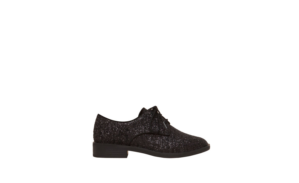 Glitter Brogues - predominant colour: black; occasions: casual, creative work; material: faux leather; heel height: flat; embellishment: glitter; toe: round toe; finish: metallic; pattern: plain; style: lace ups; season: a/w 2015; wardrobe: basic