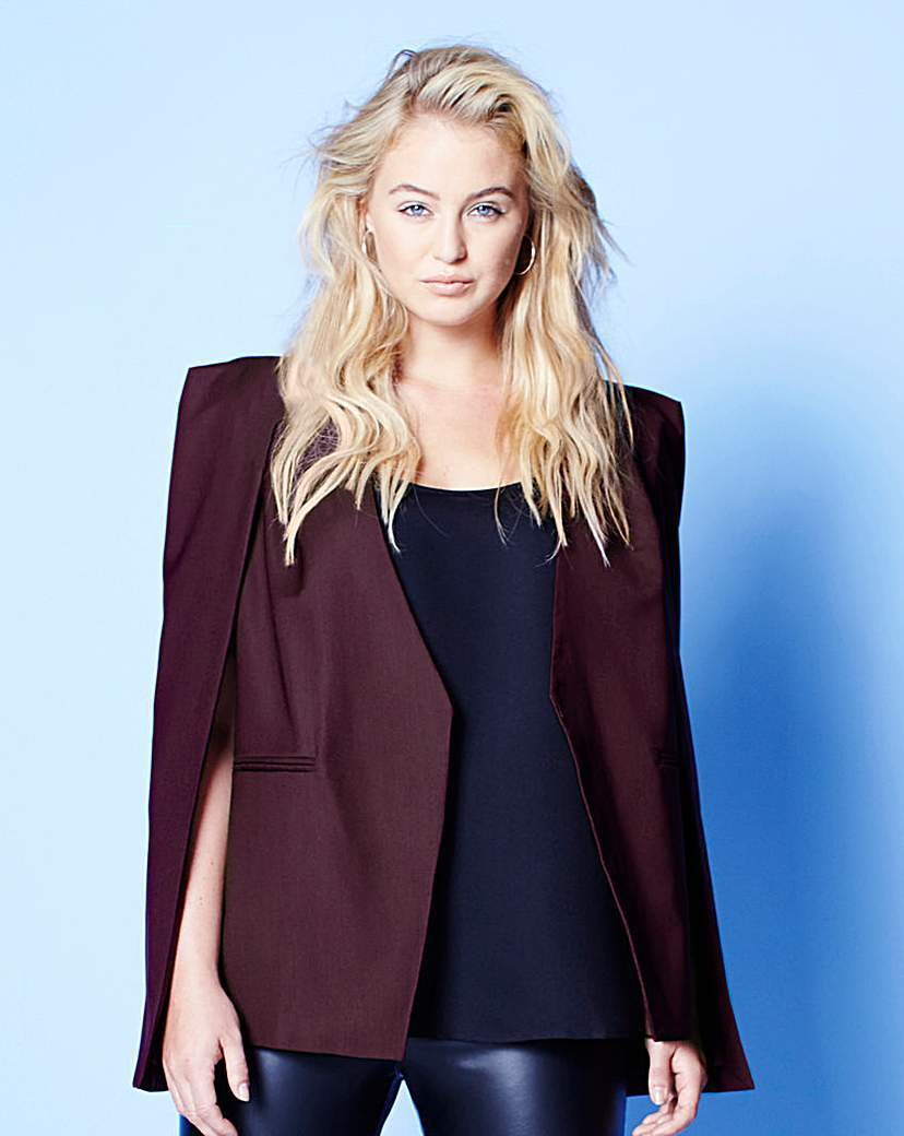 Lavish Alice Collarless Cape Blazer - pattern: plain; style: single breasted blazer; collar: round collar/collarless; predominant colour: burgundy; occasions: evening, creative work; length: standard; fit: straight cut (boxy); fibres: polyester/polyamide - 100%; sleeve length: long sleeve; texture group: crepes; collar break: low/open; pattern type: fabric; sleeve style: cape/poncho sleeve; season: a/w 2015