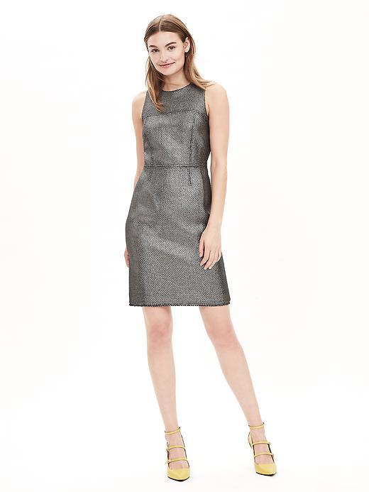 Metallic Tweed Sheath Gunmetal - style: shift; fit: tailored/fitted; sleeve style: sleeveless; pattern: herringbone/tweed; predominant colour: silver; length: just above the knee; neckline: crew; sleeve length: sleeveless; pattern type: fabric; texture group: woven light midweight; season: a/w 2015