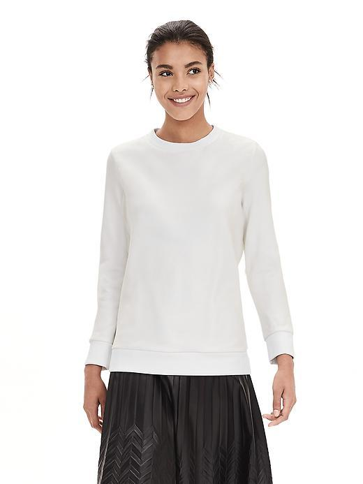 Organza Sweatshirt Cocoon - pattern: plain; style: sweat top; back detail: contrast pattern/fabric at back; predominant colour: white; occasions: casual; length: standard; fibres: silk - 100%; fit: straight cut; neckline: crew; sleeve length: long sleeve; sleeve style: standard; texture group: silky - light; pattern type: fabric; season: a/w 2015