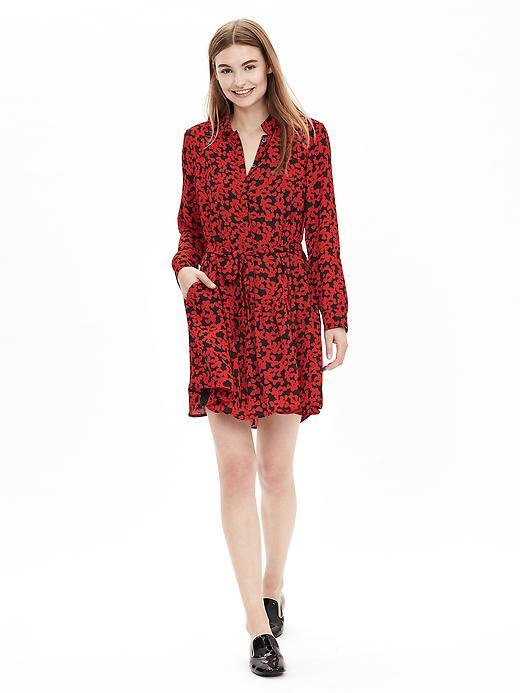 Heart Print Shirtdress Lipstick Red - style: shirt; neckline: shirt collar/peter pan/zip with opening; fit: fitted at waist; secondary colour: black; occasions: casual, creative work; length: just above the knee; sleeve length: long sleeve; sleeve style: standard; texture group: sheer fabrics/chiffon/organza etc.; pattern type: fabric; pattern size: standard; pattern: patterned/print; fibres: viscose/rayon - mix; predominant colour: raspberry; season: a/w 2015; wardrobe: highlight