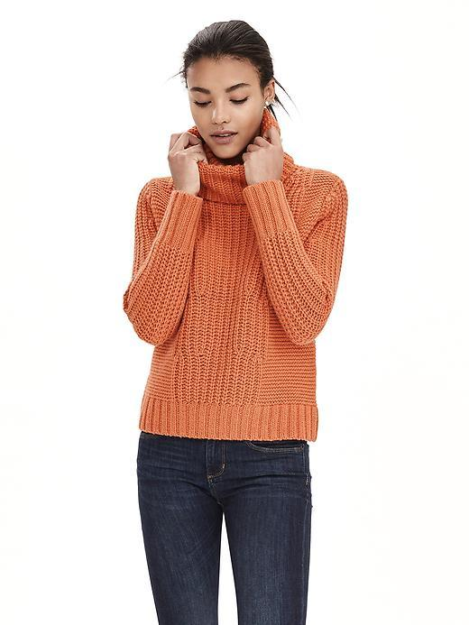 Mixed Stitch Turtleneck Pullover Apricot Bellini - pattern: plain; neckline: roll neck; style: standard; predominant colour: coral; occasions: casual; length: standard; fibres: acrylic - mix; fit: standard fit; sleeve length: long sleeve; sleeve style: standard; texture group: knits/crochet; pattern type: knitted - other; season: a/w 2015; wardrobe: highlight