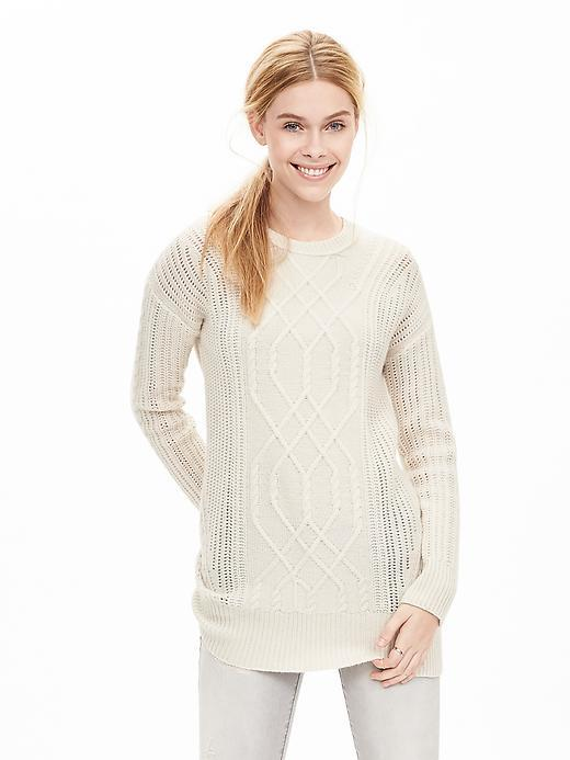 Todd & Duncan Cable Knit Cashmere Tunic Cream - neckline: round neck; pattern: plain; length: below the bottom; style: tunic; predominant colour: ivory/cream; occasions: casual; fit: body skimming; fibres: cashmere - 100%; sleeve length: long sleeve; sleeve style: standard; texture group: crepes; pattern type: fabric; season: a/w 2015; wardrobe: basic