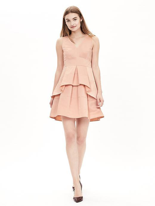 Taffeta Fit And Flare Dress Bellini - length: mid thigh; neckline: v-neck; pattern: plain; sleeve style: sleeveless; predominant colour: nude; occasions: evening, occasion; fit: fitted at waist & bust; style: fit & flare; fibres: polyester/polyamide - mix; sleeve length: sleeveless; texture group: structured shiny - satin/tafetta/silk etc.; hip detail: ruffles/tiers/tie detail at hip; pattern type: fabric; season: a/w 2015; wardrobe: event