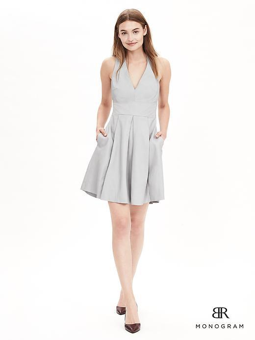 Br Monogram Grey Sky - length: mid thigh; neckline: v-neck; pattern: plain; sleeve style: sleeveless; predominant colour: light grey; occasions: evening, occasion; fit: fitted at waist & bust; style: fit & flare; fibres: polyester/polyamide - 100%; hip detail: structured pleats at hip; sleeve length: sleeveless; texture group: structured shiny - satin/tafetta/silk etc.; pattern type: fabric; season: a/w 2015