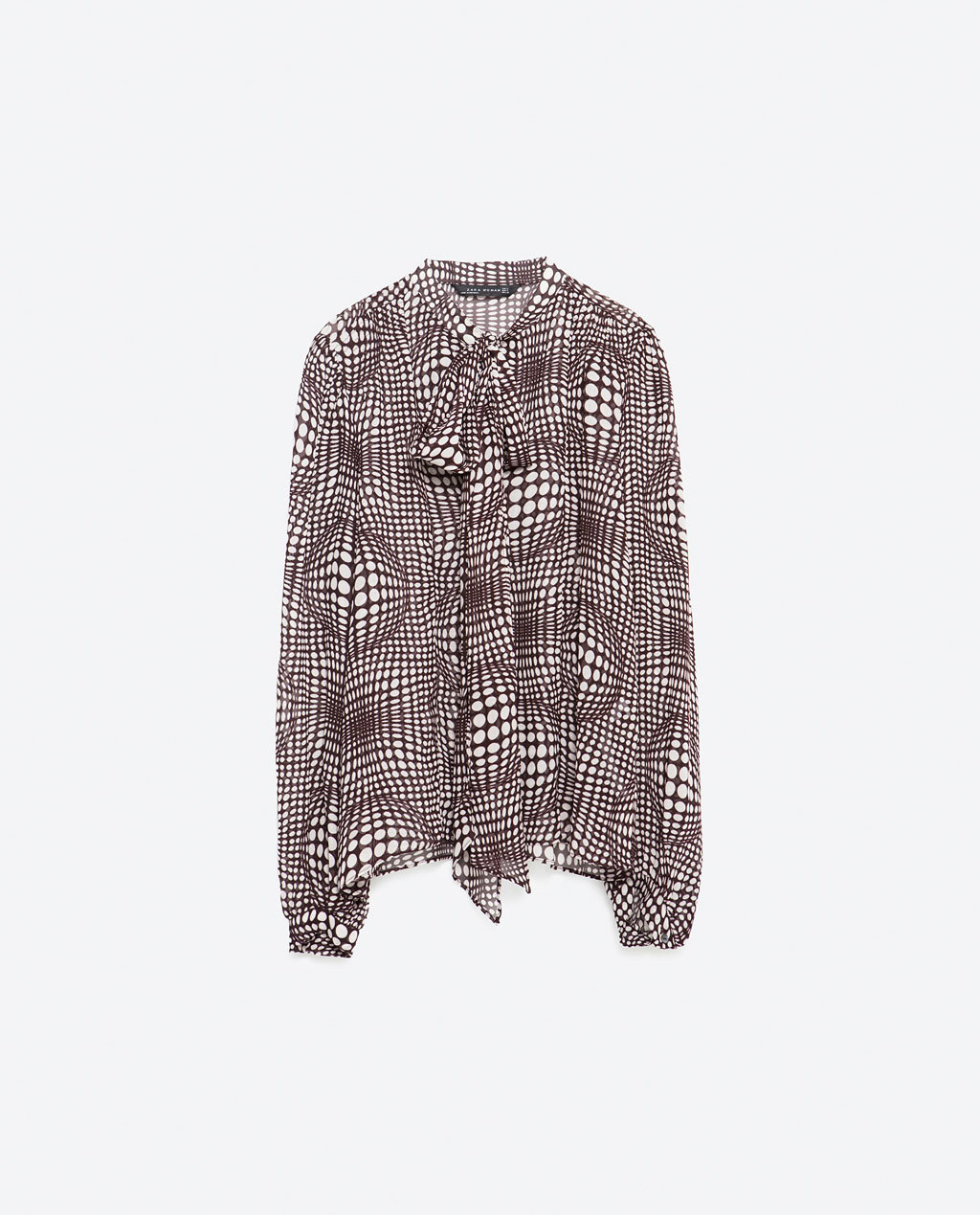 Printed Blouse - neckline: pussy bow; style: blouse; secondary colour: white; predominant colour: aubergine; occasions: evening, work, occasion; length: standard; fibres: viscose/rayon - 100%; fit: straight cut; sleeve length: long sleeve; sleeve style: standard; texture group: cotton feel fabrics; pattern type: fabric; pattern size: standard; pattern: patterned/print; multicoloured: multicoloured; season: a/w 2015; wardrobe: highlight