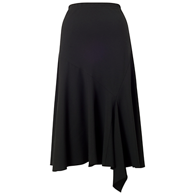 Flared Moss Crepe Skirt, Black - length: below the knee; pattern: plain; fit: loose/voluminous; waist: high rise; predominant colour: black; occasions: casual, creative work; style: asymmetric (hem); fibres: polyester/polyamide - stretch; pattern type: fabric; texture group: woven light midweight; season: a/w 2015; wardrobe: basic