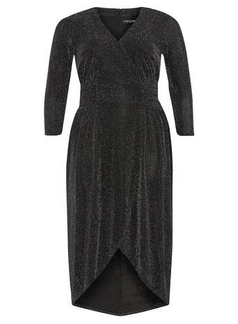 Womens **Dp Curve Black And Silver Wrap Dress Black - style: faux wrap/wrap; neckline: v-neck; pattern: plain; predominant colour: black; occasions: evening; length: just above the knee; fit: body skimming; sleeve length: 3/4 length; sleeve style: standard; pattern type: fabric; texture group: jersey - stretchy/drapey; fibres: nylon - stretch; season: a/w 2015