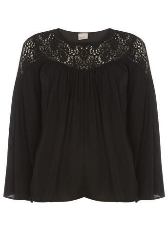 Womens **Vero Moda Black Crochet Insert Top Black - pattern: plain; predominant colour: black; occasions: casual; length: standard; style: top; fibres: viscose/rayon - 100%; fit: straight cut; neckline: crew; sleeve length: 3/4 length; sleeve style: standard; pattern type: fabric; texture group: jersey - stretchy/drapey; embellishment: lace; season: a/w 2015; wardrobe: highlight